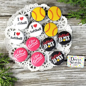 "Party Favor Pins 12 SOFTBALL Pins trade Badges 1 1/4"" PINBACK  USA Decowords New"