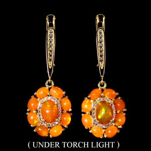 Oval Orange Fire Opal 7x5mm Cz Yellow Gold Plate 925 Sterling Silver Earrings