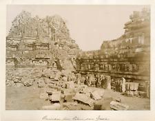 Indonésie, Java, Ruines du temple bouddhiste de Borobudur Vintage albumen print