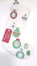 Bright Beautiful Lined Snow White Christmas Stocking Festive Ornament Appliques