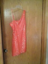 Accidentally in Love brand orange 1 shoulder cocktail dress, S, lined, polyester