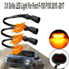 3x Bumper Grille LED Amber Light Grill For Raptor Ford F-150 F150 2015 2016 2017