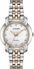 Citizen Jolie Women's Eco Drive Silver Rose Gold Stainless Steel Watch EM0716-58