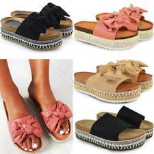 Womens Bow Flatform Sandals Peep Toe Ladies Pearl Stud Wedges Platform Shoes