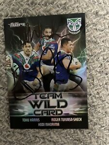 Signed New Zealand Warriors Team Wildcard NRL Traders Card WCG 15 RTS