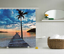Tropical Palm Tree Decor Nautical Ocean Wooden Dock Bridge Fabric Shower Curtain