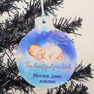 Baby Boy Memorial Remembrance Personalised Christmas Tree Decoration