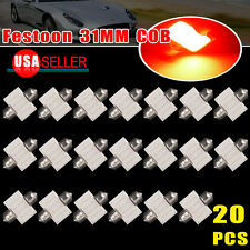 20pcs Pure Red 31mm Festoon COB DE3175 Dome Map Cargo LED Light Bulb US stock