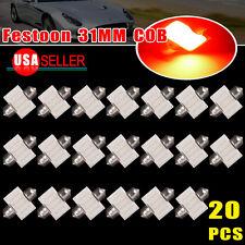 20pcs Pure Red 31mm Festoon COB DE3175 Dome Map Cargo LED Light Bulb US stock
