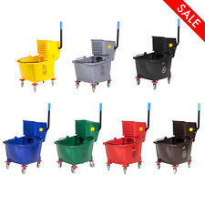 35 Qt. Janitorial Mop Bucket And Side Press Wringer Combo Easy Cleaning System