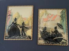 Vintage Pair Silhouette Reverse Painting Convex Glass Framed Mother Son Nautical