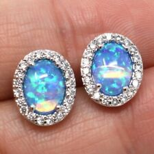 Sparkling Blue Opal Earrings Women Birthday Wedding Anniversary Jewelry Gift