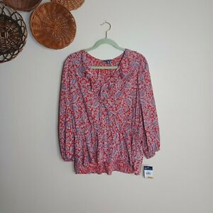 Womens CHAPS Womens Size Large Red Paisley Peasant Blouse New