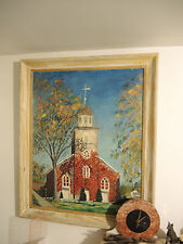 Church Oil painting on board, Old