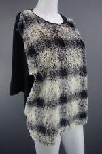 Womens River Island Black Cream Faux Fur Jumper Size UK 16 (EUR 42)