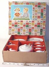CHILD'S WHITE PORCELAIN PINE CONE GOLD TRIMMED FOUR PERSON TEA SET BOXED 1940s