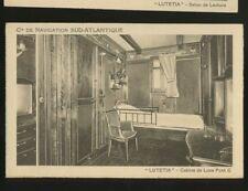 SS Lutetia - Luxury Cabin Room Postcard - Compagnie de Navigation Sud-Atlantique