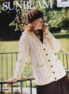 "Sunbeam Aran Knitting Pattern Ladies Cardigan Jacket Size 34/ 40"""