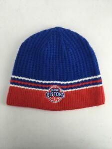Vtg 90s ADIDAS DETRIOT PISTONS Blue Beanie Hat Skull Cap Basketball Cuffless