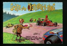 Car Auto Racing chrome postcard Formula 1 Grand Prix German Comic Cartoon