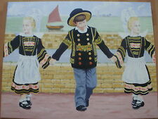 BRETON CHILDREN OIL ON CANVAS BY J.M.WALLACE
