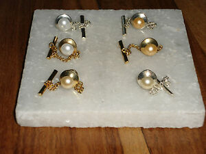 S/P or G/P Tie Tac/Pin with Chain with Pearl Crystal-Wedding-Gifts-Accessories
