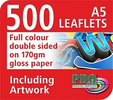 500 A5 FULL COLOUR DOUBLE SIDED LEAFLETS ON 170GM GLOSS - FREE ARTWORK