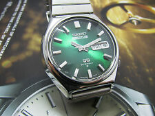 VINTAGE SEIKO 5 ACTUS AUTOMATIC 6106-8690 GREEN DIAL GENTS FACET CRYSTAL.