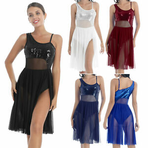 Women's Sequins Bodice Mesh Flowy Split Dress Contemporary Ballet Dance Dresses
