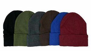 1 3 or 6 Winter Warm Knit Beanie Ski Caps Mens Womens Hats Lot Solid Black
