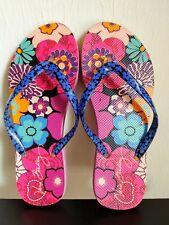Vera Bradley Pink, Blue, Purple Floral Flip Flops, Size 7/8...Good Condition!
