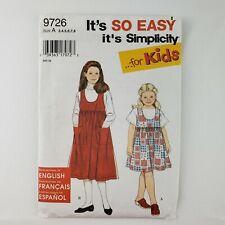 Simplicity 9726 Pattern UNCUT -Childs Jumper 2 Lengths- Child's Size 3 4 5 6 7 8