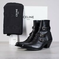 CELINE HOMME 1350$ Berlin Ankle Boots In Shiny Black Calfskin
