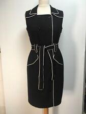 NEW Calvin Klein black mini dress white piping military trench sleeveless 12