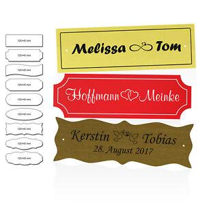 Namensschild 125×40mm Acryl mit Gravur Gartenbank Hochzeits-Schild Taufschild