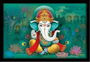 Lord Ganesha Art Framed Painting, Wood, 12*18 inches