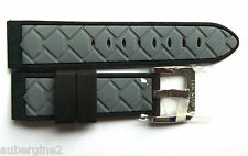 Locman 24mm GREY/BLACK DIAMOND PATTERN RUBBER Watch BAND, QUICK-RELEASE