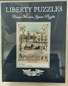 """NEW SEALED Liberty Puzzles Wooden Jigsaw Puzzle """"Winter Days"""" 629 Pieces"""