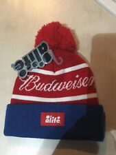 ALIFE  BUDWEISER logo pom beanie one size fits all red white blue NWT