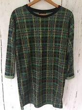 TOPSHOP Black Green Yellow Check Sweater Style Mini Dress Size 8 Loose Fit 60s