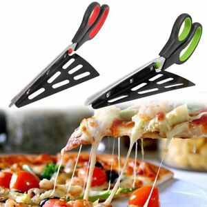 Stainless Steel Pizza Cutter Scissors Slicer Removable Spatula Home Kitchen Tool