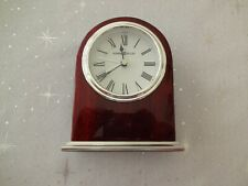 645-480 HOWARD MILLER TABLE CLOCK WALKER  ROSEWOOD FINISHED ALARM CLOCK USED
