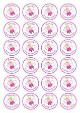 24 Peppa Pig Thank You for coming to my Party CupCake Toppers Edible Wafer Paper