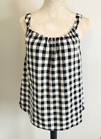Ann Taylor Women's Black/White Gingham Plaid Sleeveless Blouse Size Small