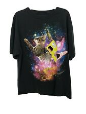 Nickelodeon Men's Spongebob Patrick Riding Cat in Space Black T-Shirt Size L