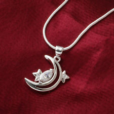Women Fashion 925 Sterling Silver Star Moon Pendant Necklace Chain Jewelry Gift