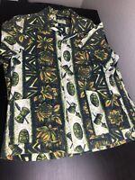 Vintage Ui-Maikai Hawaiian Shirt Green White Tribal Mask XL Pockets