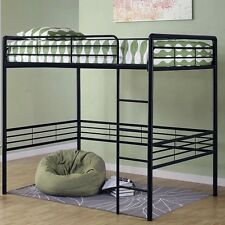 Black Metal Loft Bed Bunk Furniture Bedroom Ladder Desk Beds Dorm Over Home Full