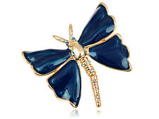 Dragonfly Pin Brooch Party Gift Diamante Crystal Pearlescent Royal Blue Painted