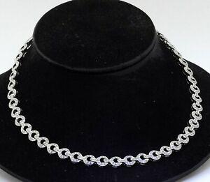 Heavy 18K white gold 11.0CT VS diamond fancy link formal necklace